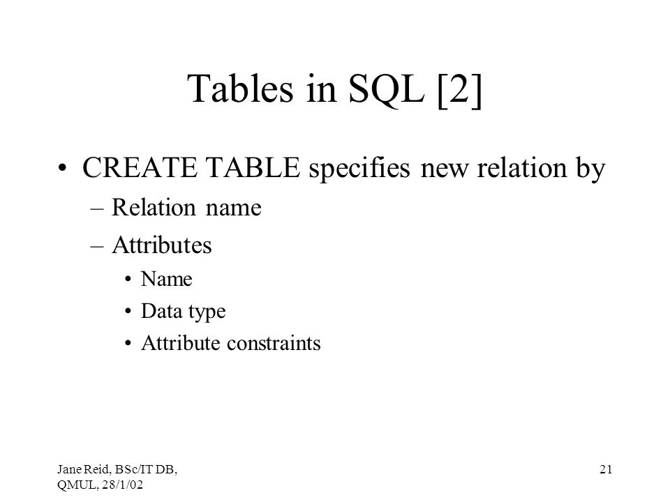 Tables in SQL [2] CREATE TABLE specifies new relation by Relation name